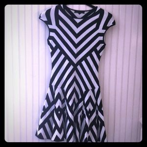 RVN black and white stripe knit flare dress small